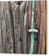 Copper Ground Wire And Knothole On Utility Pole Wood Print