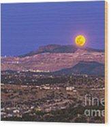Copper Moon Rising Over The Santa Rita Wood Print