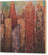 Copper Points, Cityscape Painting Wood Print