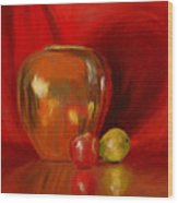 Copper Pot And Fruit Wood Print