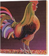 Copper Rooster Wood Print
