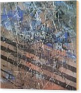 Copper To Blue Abstract Wood Print