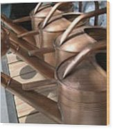 Copper Watering Cans Wood Print