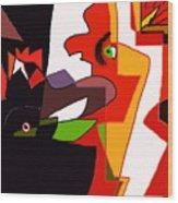 Coq Chante  Poule En Ombre Wood Print