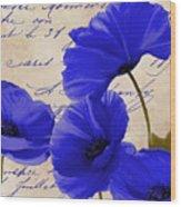 Coquelicots Bleue Wood Print