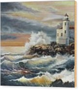 Coquille River Lighthouse At Hightide Wood Print