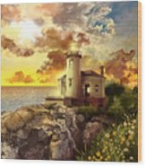 Coquille River Lighthouse Wood Print