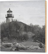 Coquille River Lighthouse Oregon Black And White Giclee Art Print Wood Print