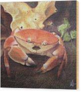 Coral Crab Wood Print