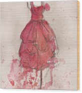 Coral Pink Party Dress Wood Print