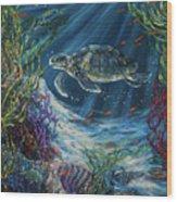 Coral Reef Turtle Wood Print