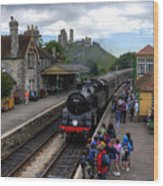 Corfe Castle Station Wood Print