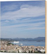 Corfu Town And Port With Cruiser Cityscape Wood Print