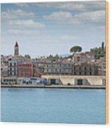 Corfu Town Port With Warehouses Wood Print