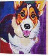 Corgi - Taste The Rainbow Wood Print