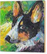 Corgi Dog Portrait Wood Print