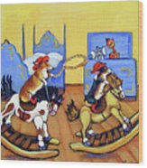 Pembroke Welsh Corgi Rainy Day Cowboys Wood Print