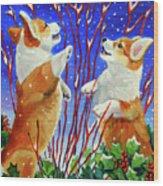 Corgi Snow Puppies Wood Print