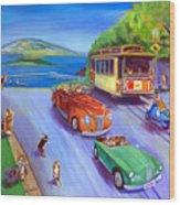 Corgi Trolley On Hyde Street Wood Print