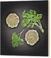 Coriander And Garlic Still Life. Wood Print