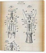 Cork Extractor Patent  1930 Wood Print