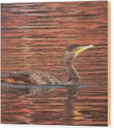 Cormorant On Autumn Red Wood Print