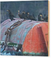 Cormorants On A Barrel Wood Print