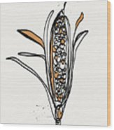 corn- contemporary art by Linda Woods Wood Print