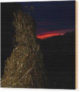 Corn Shock At Setting Sun Wood Print