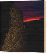 Corn Shock At Twilight Wood Print