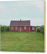 Red Barn In Field Wood Print