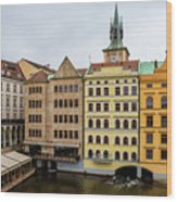 Corner Buildings In Prague Wood Print