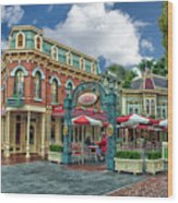Corner Cafe Main Street Disneyland 01 Wood Print