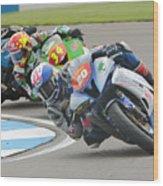 Cornering Motorcycle Racers Wood Print