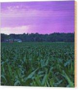 Cornfield Landscapes Purple Rain Wood Print
