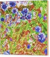 Cornfield With Cornflowers Wood Print