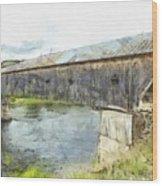 Cornish Windsor Covered Bridge Pencil Wood Print