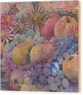 Cornucopia Of Fruit Wood Print by Arline Wagner