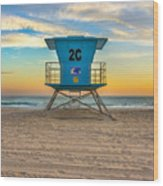 Coronado Beach Lifeguard Tower At Sunset Wood Print