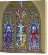 Corr Hall Stain Glass Wood Print