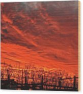 Corral Sunset Wood Print
