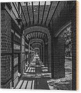 Corridor Of Brick And Stone Wood Print