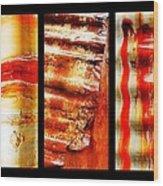 Corrugated Iron Triptych #4 Wood Print