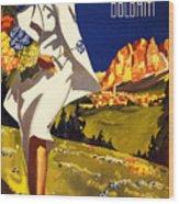 Cortina Dolomiti Italy Vintage Poster Restored Wood Print