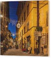 Cortona Via Nazionale Wood Print