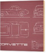 Corvette C1 Blueprint - Red Wood Print