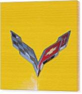 Corvette Emblem On Yellow Wood Print