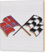 Corvette Flags On White Wood Print
