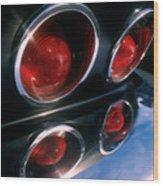 Corvette Tail Lights Wood Print