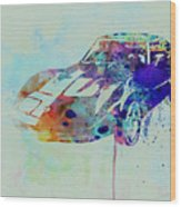 Corvette Watercolor Wood Print by Naxart Studio